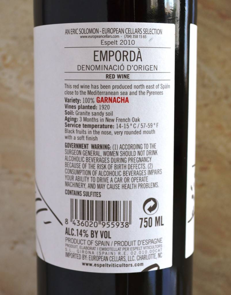 Espelt Garnacha 2010 Rear Label Final
