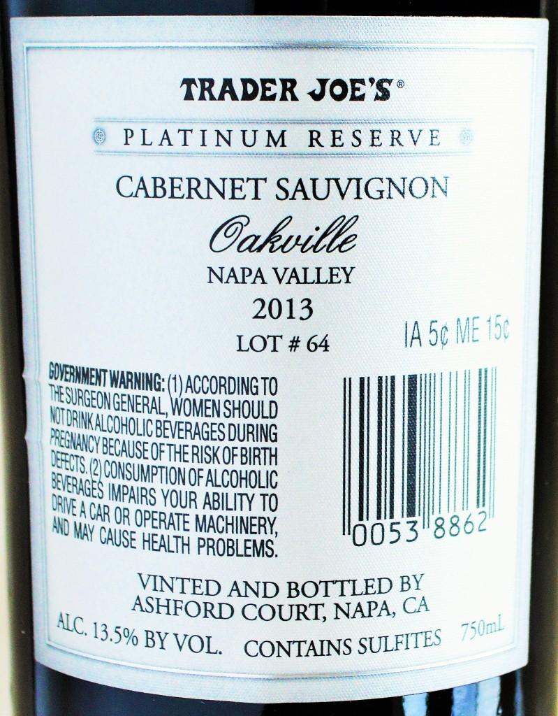 Trader Joe's Platinum Reserve Cabernet
